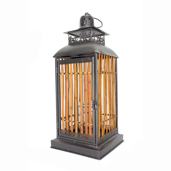Clayton 25 Inch Metal and Bamboo Lantern