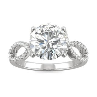 Charles & Colvard 14k White Gold 2.95 DEW Forever Brilliant Moissanite Solitaire with Side Accents Engagement Ring