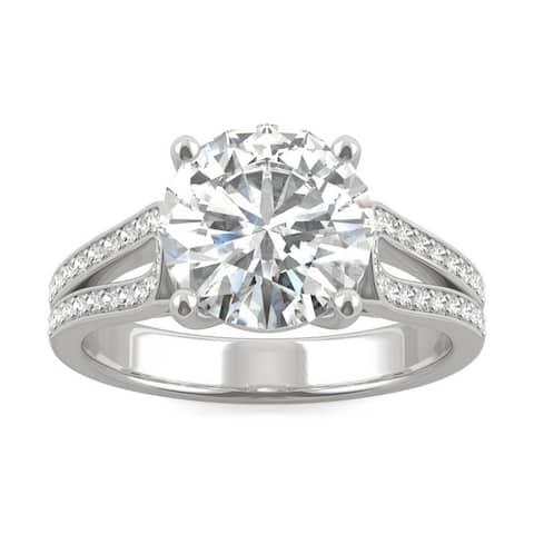 Charles & Colvard 14k White Gold 2.91 DEW Forever Brilliant Moissanite Split Shank Solitaire Ring