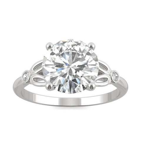 Charles & Colvard 14k White Gold 2.72 DEW Forever Brilliant Moissanite Floral Solitaire Ring
