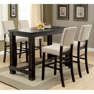 Furniture of America Vevo Transitional Black 5-piece Bar Table Set