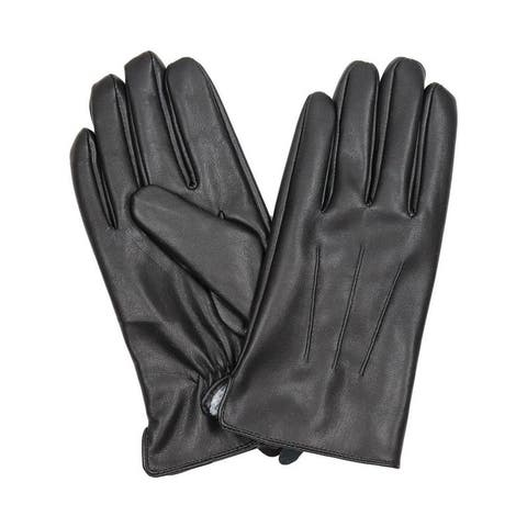 Mens Black leather gloves Insulated windproof Fur Lined Pu leather Gloves