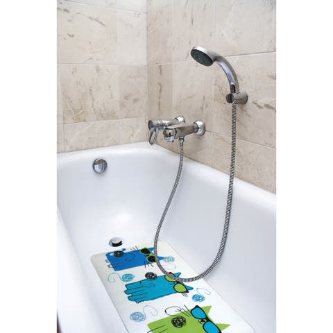 Splash Home Cool Cat Fabric Printed Bathtub Mats - 16 x 27