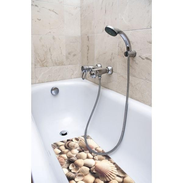 Splash Home Sea Shells Fabric Printed Bathtub Mats - 16 x 27