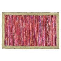 Timbergirl Handmade Red With Braided Border Rug - 5' x 8'