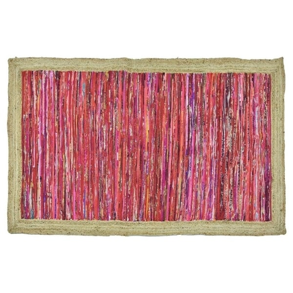 Timbergirl Red with Braided Border Handmade Rug - 5'X8'