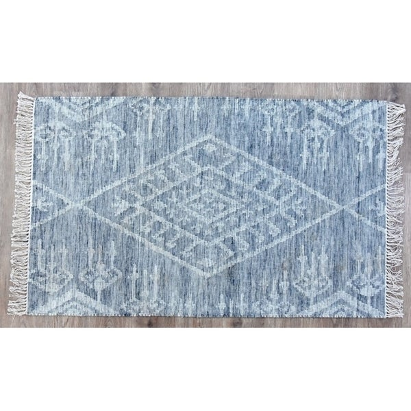 Handmade Kilim Kite Grey Wool Rug (India) - 8'x10'