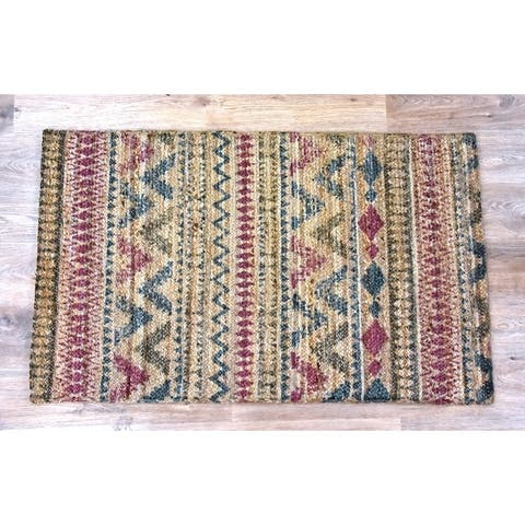 Handmade Braided Plum Jute Rug (India) - 5'X8'