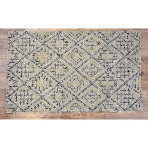 Handmade Kilim Craft Grey Wool Rug (India) - 5'X8'