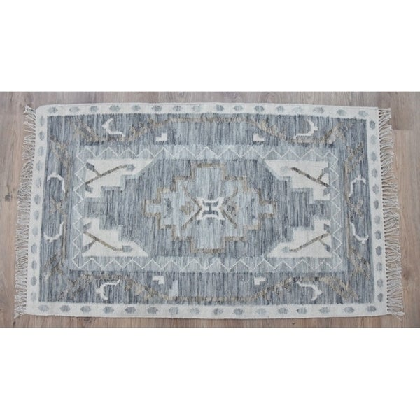 Timbergirl Kilim Blue Wool Handmade Rug - 8'x10'
