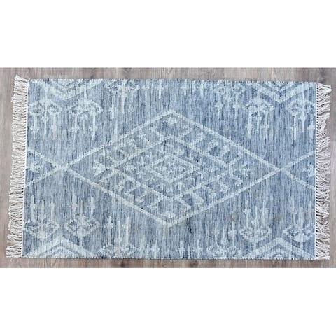 Timbergirl Kilim Kite Grey Wool Handmade Rug - 5'X8'