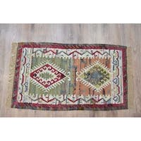 Timbergirl Sage/Coral Cotton Handmade Kilim Area Rug - 5' x 8'
