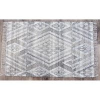 Timbergirl Handmade Kilim Sand Wool and Cotton Rug - 3' x 5'