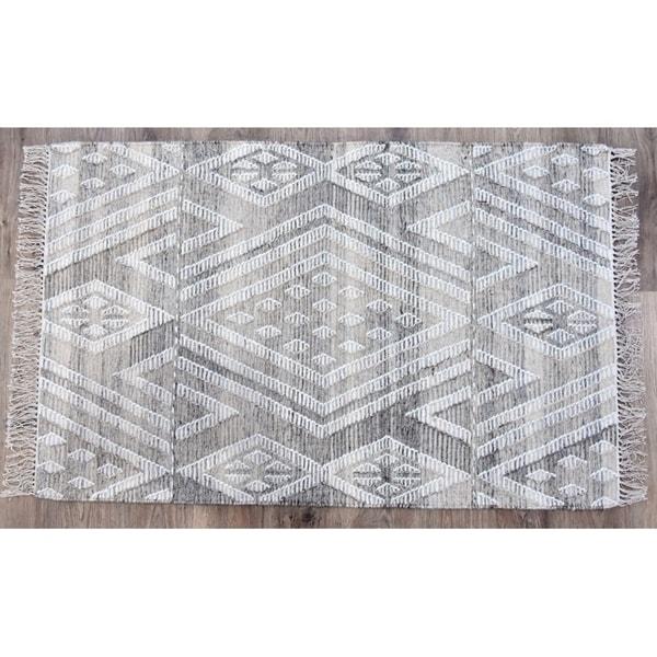 Timbergirl Kilim Sand Wool and Cotton Handmade Rug - 3'x5'