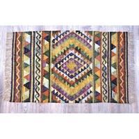 Timbergirl Multicolor Cotton Handmade Southwestern Rug - 3' x 5'