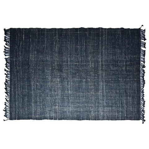 Timbergirl Textured Indigo Jute Handmade Rug - 5'X8'