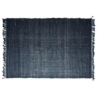 Handmade Textured Indigo Jute Rug (India) - 5'X8'