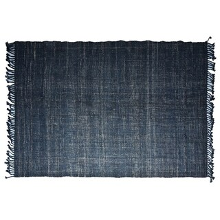Handmade Textured Indigo Jute Rug (India) - 3'x5'