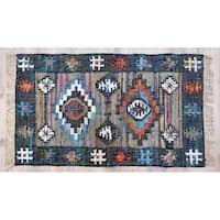 Timbergirl Teal and Coral Cotton Handmade Rug - 5'X8'