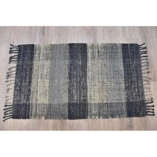 Handmade Braided Black Grey Jute Rug (India) - 3'x5'