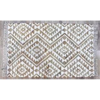 Handmade Kilim Beige Jute and Wool Rug (India) - 8'x10'