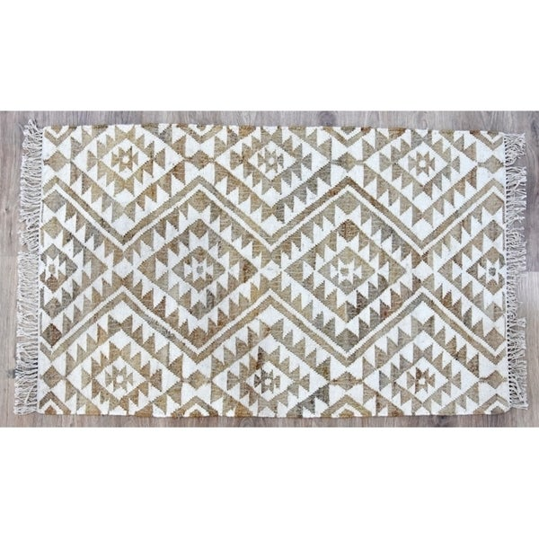 Handmade Kilim Beige Jute and Wool Rug (India) - 8'x10'