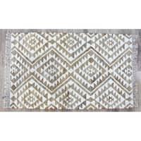 Timbergirl Beige Jute/Wool Handmade Kilim Rug - 3' x 5'