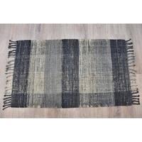 Timbergirl Braided Black Grey Jute Handmade Rug - 8'x10'