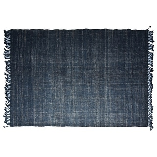 Handmade Textured Indigo Jute Rug (India) - 8'x10'
