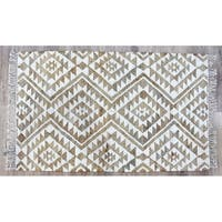 Timbergirl Kilim Beige Jute and Wool Handmade Rug - 5'X8'