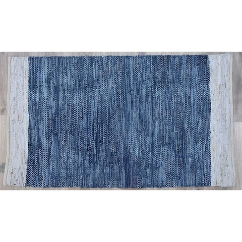 Handmade Navy Natural Leather and Jute Rug (India) - 5'X8'
