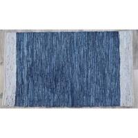 Timbergirl Navy Natural Leather and Jute Handmade Rug - 5'X8'