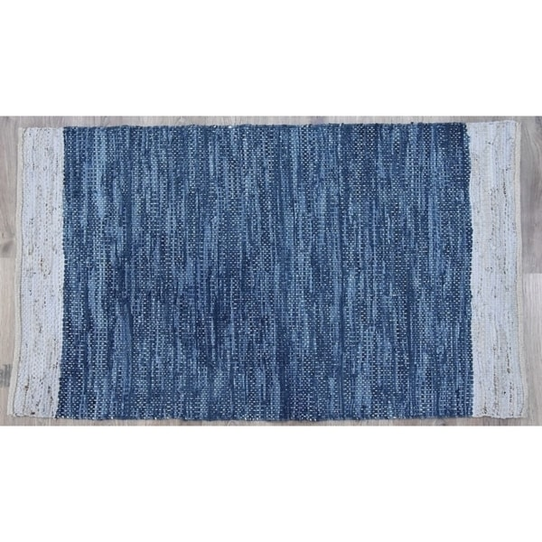 Handmade Navy Natural Leather and Jute Rug (India) - 5'X8'. Opens flyout.