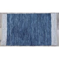Timbergirl Navy Natural Leather and Jute Handmade Rug - 3'x5'