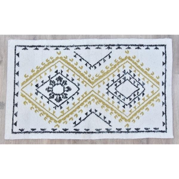 Timbergirl Yellow Black Wool and Silk Handmade Rug - 8'x10'