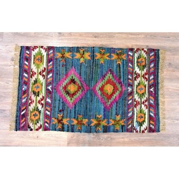 Handmade Kilim Blue Cotton Rug (India) - 8'x10'