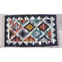 Timbergirl Black Cotton Kilim Handmade Rug - 5' x 8'