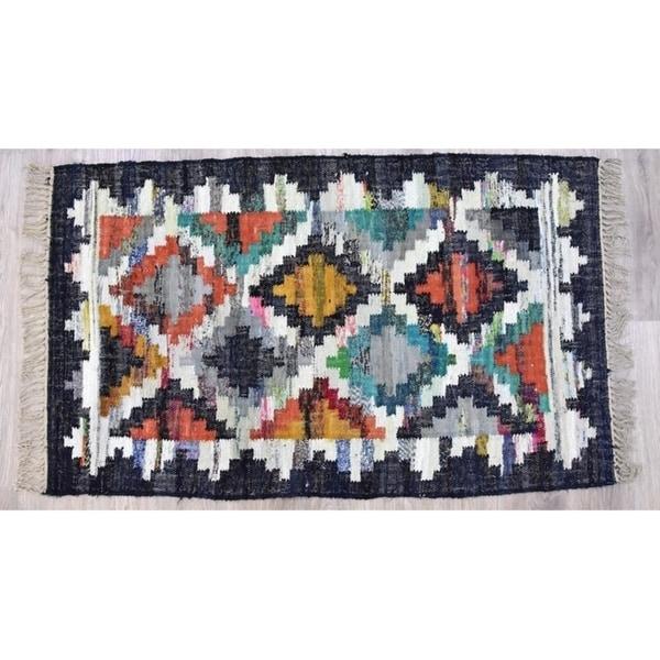 Timbergirl Kilim Black Cotton Handmade Rug - 5'X8'