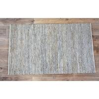 Timbergirl Beige Natural Jute and Leather Handmade Rug - 8'x10'