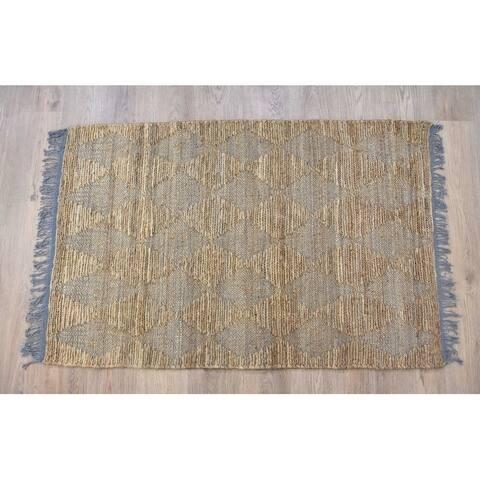 Handmade Natural Grey Jute and Cotton Rug (India) - 8'x10'