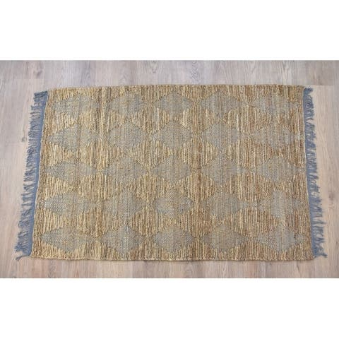Handmade Natural Grey Jute and Cotton Rug (India) - 5'X8'