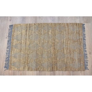 Handmade Natural Grey Jute and Cotton Rug (India) - 5'X8'