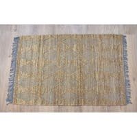 Timbergirl Natural Grey Jute and Cotton Handmade Rug - 5'X8'