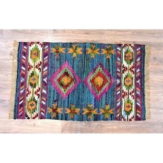 Handmade Kilim Blue Cotton Rug (India) - 5'X8'