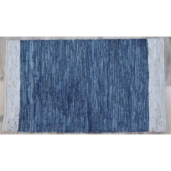 Timbergirl Navy Natural Leather and Jute Handmade Rug - 8'x10'