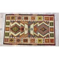 Timbergirl Kilim Rust Wool and Cotton Handmade Rug - 5'X8'