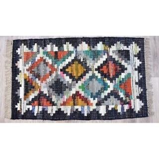 Handmade Kilim Blue Cotton Rug (India) - 3'x5'