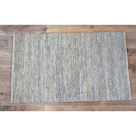 Handmade Beige Natural Jute and Leather Rug (India) - 3'x5'