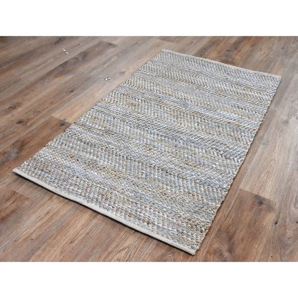 Handmade Beige Natural Jute And Leather