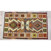Timbergirl Kilim Rust Wool and Cotton Handmade Rug - 8'x10'